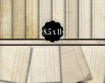 Printable Ledger Paper, Ledger Book, Digital Ledger Paper, Junk Journal, Decorative Paper, Scrapbook Digital, Old Ledger Paper Craft 001291