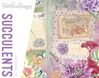 Succulents Junk Journal Kit, Printable Junk Journal Kit, Junk Journal Supplies, Floral Journal Kit, Plants Journal Kit, Flower  002097