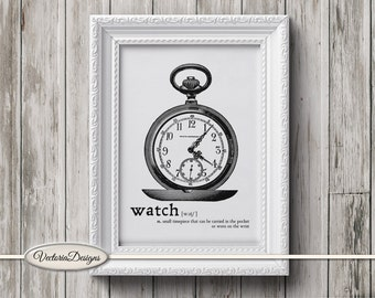 Watch print printable art black and white print dictionary digital print printable instant download digital collage sheet - VD0630