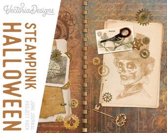 Steampunk Halloween Junk Journal Project Pack With Video Tutorial, Halloween Project Pack, Halloween Decoration Steampunk, Halloween 002080