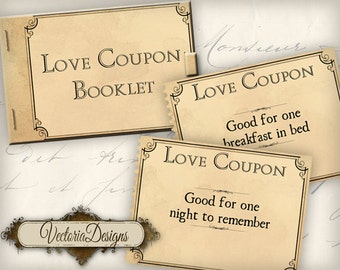 Love Coupons, Printable Coupons, Love Coupon Book, Mens Gift, Valentines Coupons, Love Sheets, Valentines Day Gift, Clip Arr Booklet VD0270