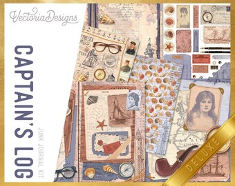 Captain's Log DELUXE Junk Journal Kit, Journal Printables, Ephemera Junk Journal, Junk Journal Supplies, Sailing Book Journal Kit 002311