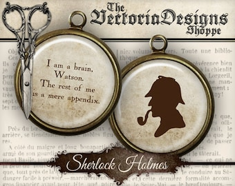 Sherlock Holmes Circles Detective - printable paper crafting scrapbooking 1.5 inch / 1 inch / 18mm / 16 mm / 14mm /12mm - VDCIVI0040