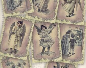 Christmas Vintage Images, Christmas Angels Images, ATC Images, Christmas Collage Sheet, Christmas Printables, Christmas Decoration VD0180