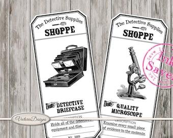Detective Supplies Shoppe Labels Printable ink saver detective sherlock digital download instant download digital collage sheet - VDAPRE1659
