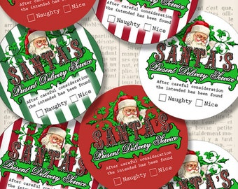 Christmas Labels, Delivery Labels, Christmas Paper Crafting, Christmas Scrapbook, Christmas Decor, Christmas Naughty Nice Tags  001257
