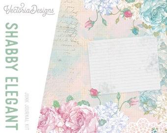 Shabby Elegant Journal Kit, Printable Journal Kit, Digital Junk Journal, Stationery Download, Scrapbooking Digital, Collage Sheets 001949