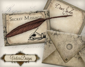 Secret Message Envelopes Printable Steampunk Envelopes instant download digital collage sheet - VDENST0261