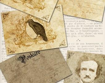 Edgar Allan Poe Postcards back 5 x 3.5 inch crafting art scrapbooking printable images instant download digital collage sheet VDCAGO1089