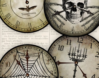 Halloween Clocks, Halloween Skull Decor, Halloween Printables, Bat Clock, Halloween Decoration, Halloween Clock Face, Halloween Paper 000929