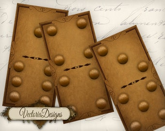 Steampunk Domino Stones complete set printable 2 x 1 inch paper crafting scrapbooking digital download collage sheet - VD0708