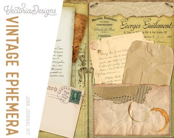 Vintage Ephemera Junk Journal Kit, Printable Journal, DIY Kit, Paper Craft Kit, Scrapbook Journal, Album Paper Kit, Vintage Scrapbook 001990