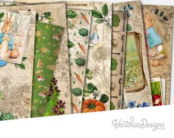 Peter Rabbit Garden Paper Pack, Junk Journal Kit, Beatrix Potter Paper Pack, Baby Shower Gift, Decorative Paper, Peter Rabbit Gift  002105