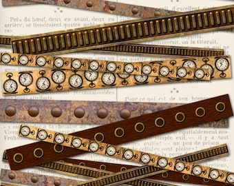 Steampunk Borders Printable Paper Crafting Scrapbook Scrapbooking Mixed Media instant download Digital Collage Sheet - VDMIST1134