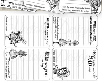 Alice in Wonderland journal Cards printable ink saver junk journal embellishments instant digital download digital sheet - VD0394