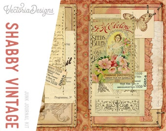 Shabby Vintage Junk Journal Kit, Printable Journal Pages, Shabby Elegant Journal, Scrapbook Journal, Collage Kit, Embellishments 002025