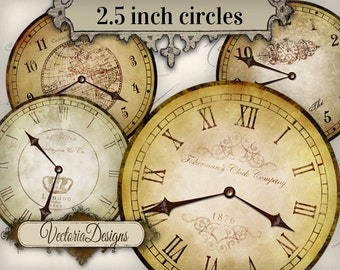 Vintage Clock 2.5 inch images with without handles instant download digital collage sheet VD0683