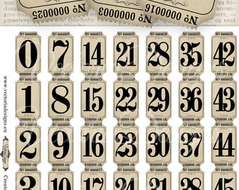 Vintage Tickets Strips, Vintage Numbers, Tickets Imprimbles, Ephemera Digital, Scrapbooking Printable, Digital Graphics, Paper 000775