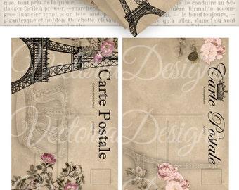 Paris Postcards 5 x 3.5 inch postal printable craft art hobby crafting scrapbooking instant download digital collage sheet - VD0568