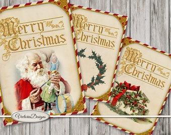 Christmas ATC Cards, Christmas Journal Cards, Junk Journal, Christmas Printables, Christmas Decoration, Christmas Card Images, 001561