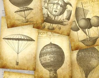 Vintage Air Balloon ATC images - Junk Journal Embellishment - 000805