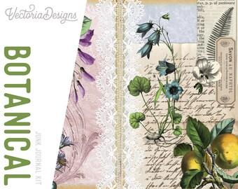 Botanical Journal Kit, Printable Journal, Junk Journal Diy, Journal Pages, Pink Journal, Vintage Journal Kit, Journal Pack, DIY Kit 002019