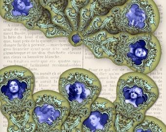 Vintage Fan printable paper craft art hobby crafting scrapbooking instant download digital collage sheet - VDMIVI1083