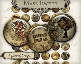 Steampunk Christmas Circles printable 1 inch circles jewelry making handmade pendant digital download instant download collage - VDCIST1663