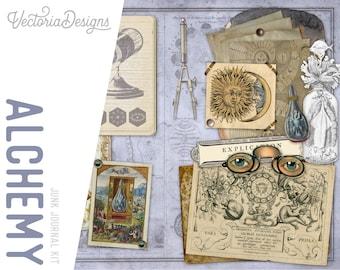 Alchemy Junk Journal Kit, Occult Journal Kit, Magic Journal Kit, Junk Journal DIY, Paper Craft Album, Junk Journal Pages, Craft Kit  002094