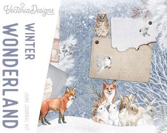 Winter Wonderland Junk Journal Kit, Junk Journal Printables, Junk Journal Supplies, Junk Journal Ephemera, Junk Journal Digital  002153