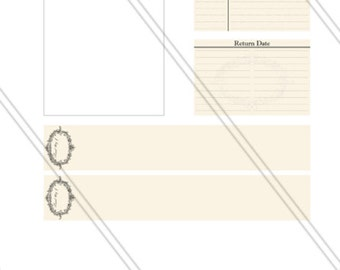 Shabby Elegant Home Library Kit printable instant download digital collage sheet - 000153