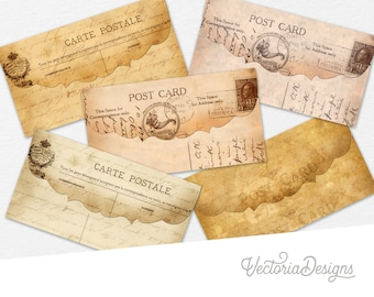 Five Postcards Envelopes, Digital Collage, Printable Postcards Envelopes, Printable Postcards, Vintage Postcards Envelopes, Ephemera 000033