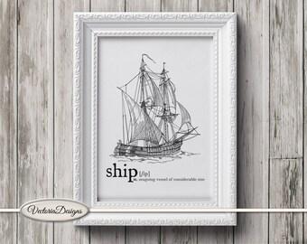 Ship print printable art black and white print dictionary digital print printable instant download digital collage sheet - VD0618