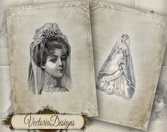 Brides ATC vintage wedding printable paper craft art hobby crafting scrapbooking instant download digital collage sheet - VD0110