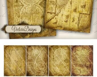 Old Maps ATC vintage images digital background instant download printable collage sheet 000255