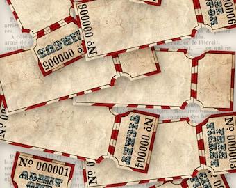 Grunge Circus Tickets, Digital Paper Printable, Vintage Circus Paper Tickets, Blank Tickets, Circus Download, Circus Coupons 001154