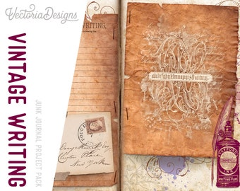 Vintage Writing Junk Journal Project Pack With Video Tutorial, Scrapbook Journal, DIY Journal Pack, Digital Album Journal,Paper Craft 002036