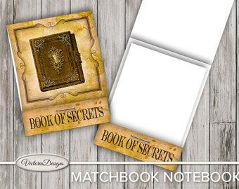 Book of Secrets Matchbook Notebook Cover DIY printable paper craft crafting scrapbooking instant download digital sheet - VDMNVI1656