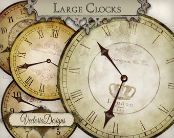 Printable clocks vintage clock images clock hands printable scrapbooking paper digital download instant download collage sheet - VD0543
