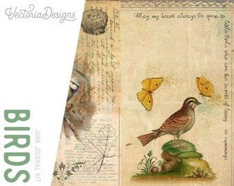 Vintage Birds Journal Kit, Birds Theme Printables, Junk Journal Pack, Scrapbooking Journal, Ephemera Journal Kit, Craft Kit, DIY Kit 001999