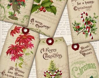 Christmas Tags Printable, Digital Christmas Present, Christmas Gift, Christmas Decoration, Vintage Christmas Downloads, Digital 001222