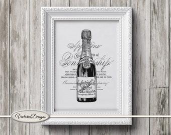 Champagne print printable art black and white print dictionary digital print printable instant download digital collage sheet - VDTRVI0881