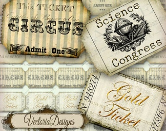 Vintage Tickets Ticket Strips instant download printable images digital collage sheet VD0021