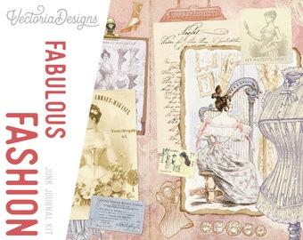Fabulous Fashion Junk Journal Kit, Junk Journal Supplies, Junk Journal Pages, Junk Journal Printable, Junk Journal Ephemera, DIY 002133