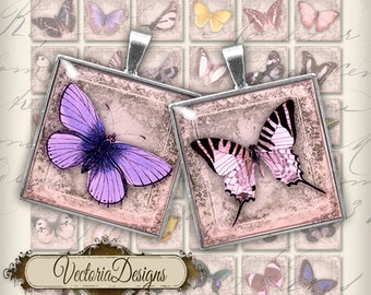 Butterfly Images 1 inch square printable crafting inchies instant download printable digital collage sheet - VD0135