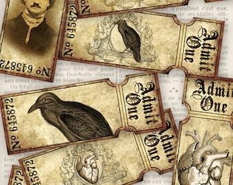 Edgar Allan Poe Tickets printable add text scrapbooking crafting craft gothic instant download printable digital collage sheet - VDTIGO1071