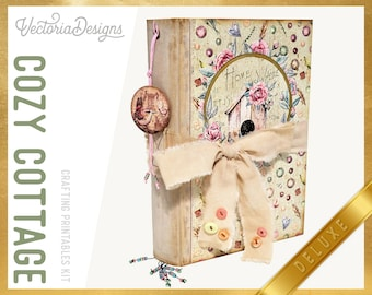Cozy Cottage Journal DELUXE Crafting Printables Kit, Printable Journal Kit, Journal Ephemera, Scrapbook Journal, Cottagecore Journal  002237