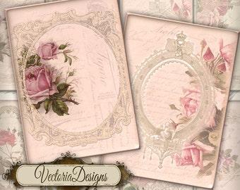 Vintage Flowers and Frames ATC vintage images digital background instant download printable collage sheet 000199