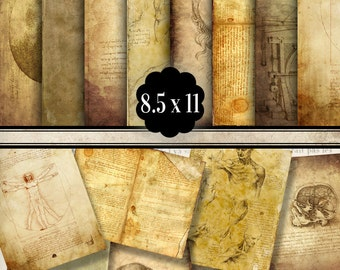 Leonardo Da Vinci Papers, Printable Paper, Digital Paper, Decorative Paper, Bookmaking, Scrapbook Paper Craft, Grunge Decoration 001184