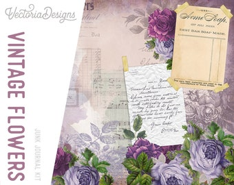 Vintage Flowers Junk Journal Kit, Printable Journal Pages, Digital Embellishments, Scrapbook Papers, DIY Kit, Journal Digital Kit  002061